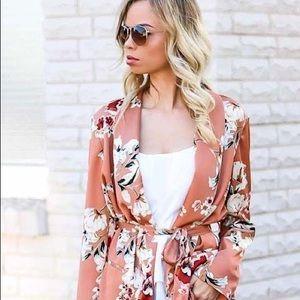 Zara floral peach silk kimono blazer, size small